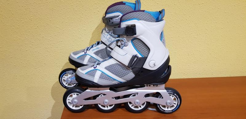 Patines en línea 4 ruedas fitness Oxelo ruedas 80mm fit 5, 80 A, con carrilera de aluminio nº 36