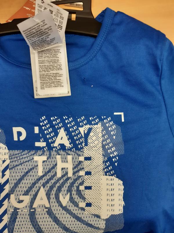 T-shirt bambino ginnastica 100 azzurra con stampa