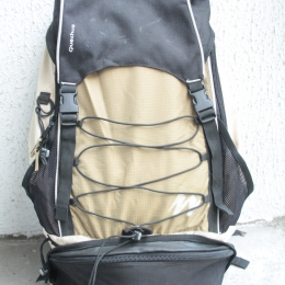 Sac à dos Quechua Forclaz 60 (L) beige/noir/marron