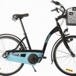 Vélo de ville Elops5 noir et bleu turquoise TBE avec son panier