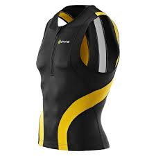 Maillot Skins Tri 400 Mens Top Sleeveless W Zip Black/Yellow Xs